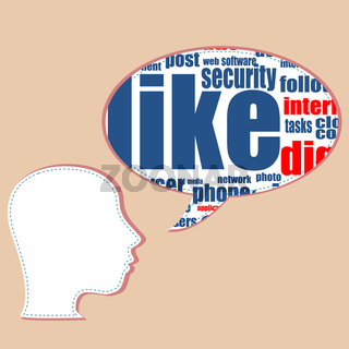 Word cloud, tag cloud text business concept. Head silhouette with the words on the topic of social networking. Word collage