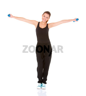 Fitness woman working out with dumbbells