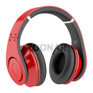 red and black wireless headphones isolated on white background