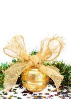 Gold Christmas bauble and tinsel