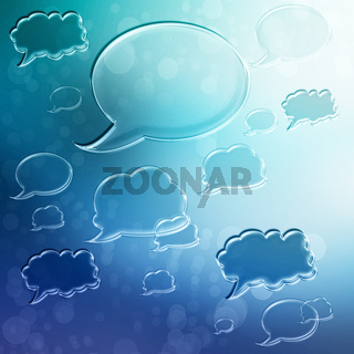 Speech Bubbles on Blue Gradient Background