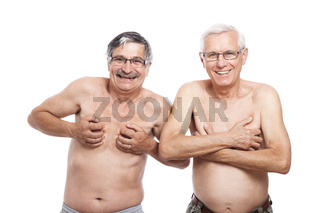 Two funny naked seniors