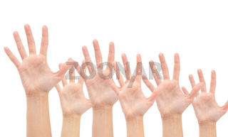Group of Hands in the air isolated on white background
