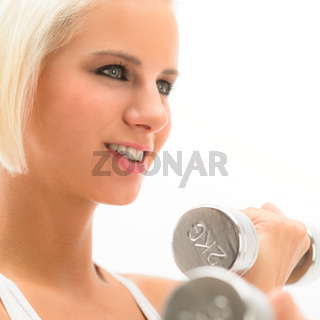 Woman exercise weights white fitness close-up