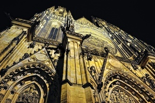 Prague. St. Vitus cathedral in darkness.