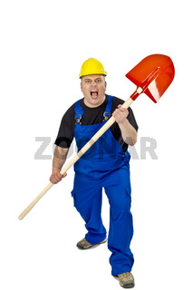 Aggressiver Handwerker mit einer Schippe