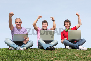 teens boys with laptops