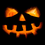halloween, old jack-o-lantern on black