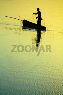 Traditional Fisherman Sillhouette