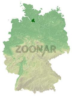 Hamburg - topografische Relief Karte Deutschland