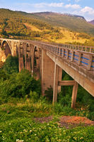 Long bridge over Tara river in Montenegro