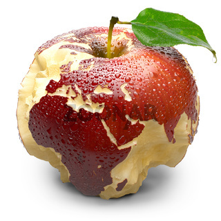 Apple with carved continents. Europe and Africa