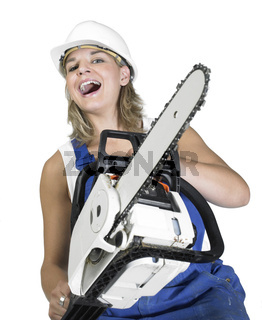 laughing chain saw girl