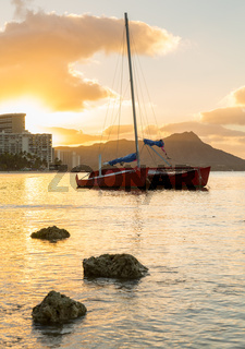 Sunrise over Diamond Head from Waikiki Hawaii