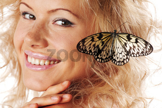woman and butterfly on white