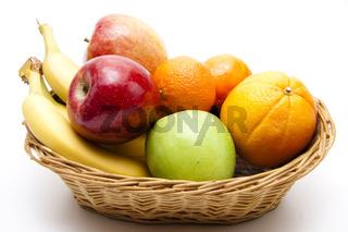 Orangen mit Äpfel und Bananen