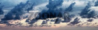 Panorama of dramatic cloudy sky