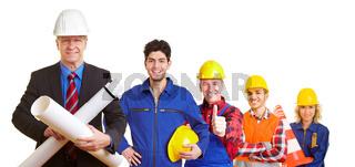 Architekt und Bauarbeiter im Team
