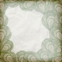 vector  abstract floral frame on crumpled paper