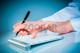 Female hands and keyboard