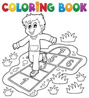 Coloring book kids play theme 4 - picture illustration.