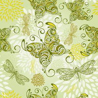 vector seamless pattern with butterflies, dragonflies, and abstract flowers