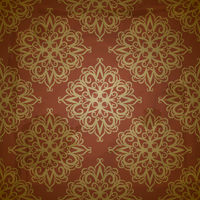 vector seamless golden pattern on red grungy background with crumpled paper texture