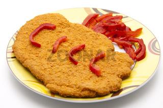 Schweine Schnitzel mit Ketchup