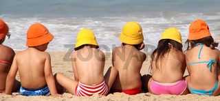 Cute funny children on the beach