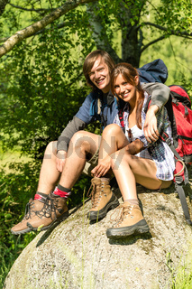 Portrait of hikers young couple outdoors