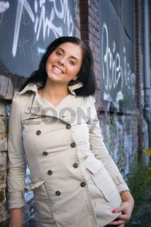 smiling at the wall