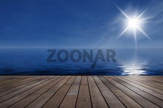 Blick von der Terrasse auf das Meer