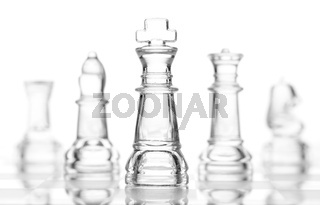 transparent glass chess isolated on white
