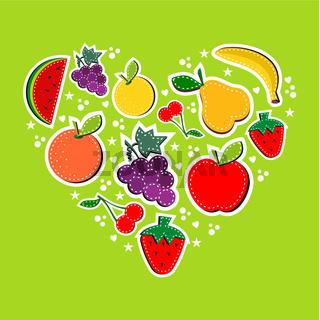 Love eat fruits concept