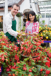 Smiling customer touching plant with employee