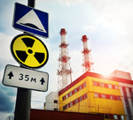 Nuclear Power Plant with Radioactivity Sign
