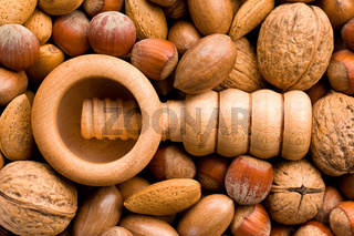 wooden nutcracker and nuts