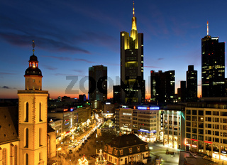 Frankfurt skyline at dusk near Hauptwache
