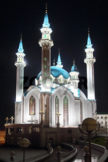 kul sharif mosque at night in kazan