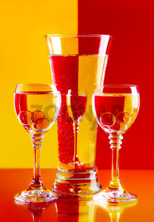 Wine-glasses with water