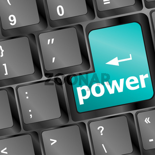 Computer keyboard - blue key power