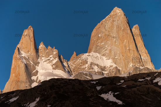 Mount Fitz Roy Peaks in the evening sun