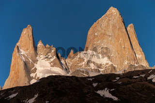Mount Fitz Roy Peaks in the evening sun