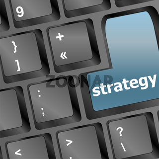 Strategy text symbol on keyboard - business concept