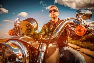 Biker on a motorcycle