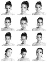 Young woman face expressions composite black and white isolated