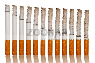 lighted cigarettes