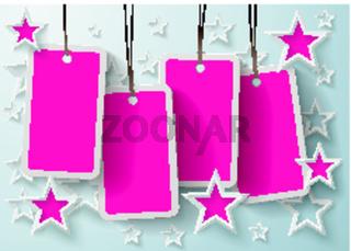 Four Purple Price Sticker With Stars Eps10
