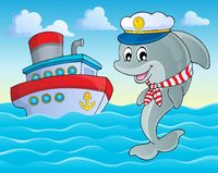 Image with dolphin theme 2 - picture illustration.