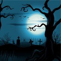 Creepy tree Halloween background with full moon